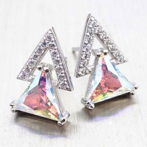 Rainbow Zircon Stud Earrings 925 Silver